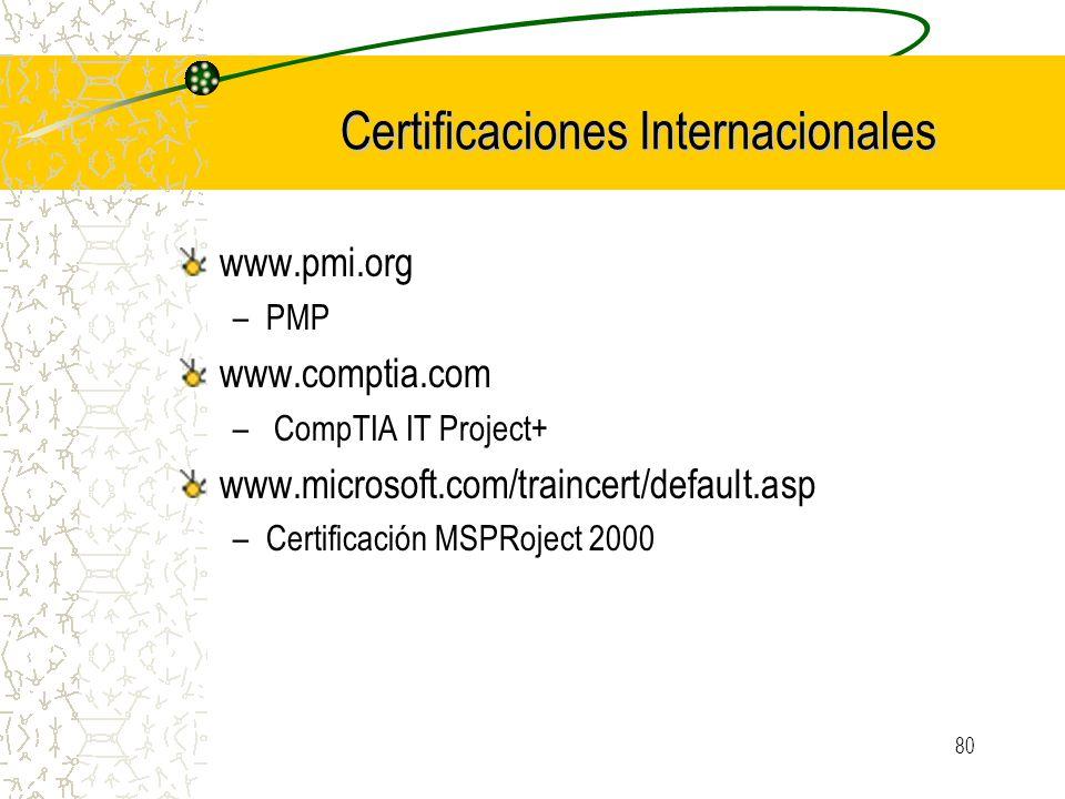 80 Certificaciones Internacionales www.pmi.org –PMP www.comptia.com – CompTIA IT Project+ www.microsoft.com/traincert/default.asp –Certificación MSPRo