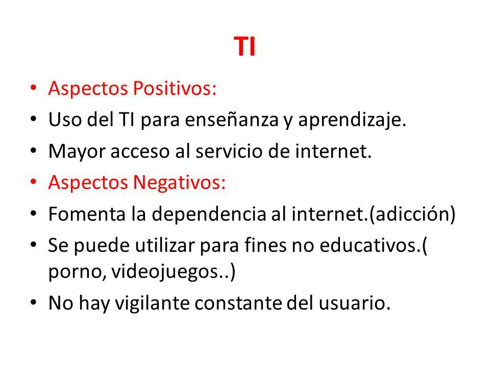 TI Aspectos Positivos: Uso del TI para enseñanza y aprendizaje. Mayor acceso al servicio de internet. Aspectos Negativos: Fomenta la dependencia al in