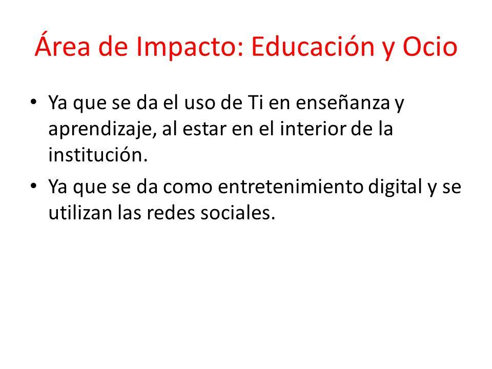 Área de Impacto: Educación y Ocio Ya que se da el uso de Ti en enseñanza y aprendizaje, al estar en el interior de la institución. Ya que se da como e