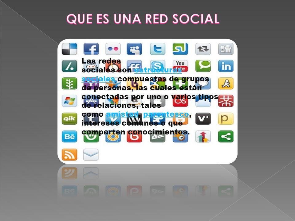 Las redes sociales son estructuras sociales compuestas de grupos de personas, las cuales están conectadas por uno o varios tipos de relaciones, tales como amistad, parentesco, intereses comunes o que comparten conocimientos.estructuras socialesamistadparentesco