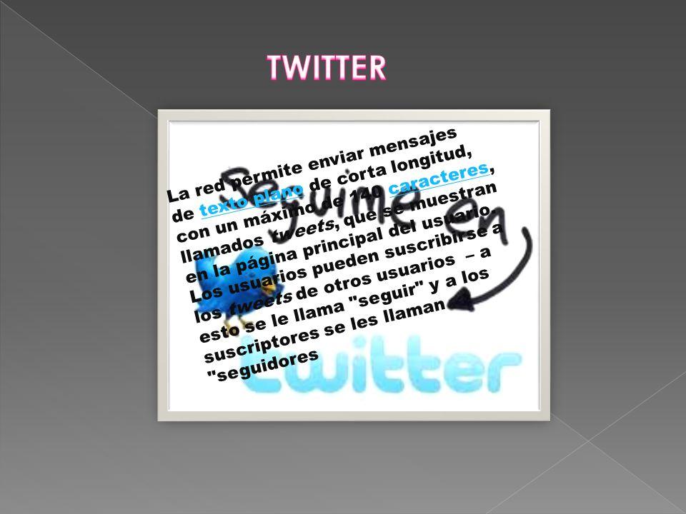 La red permite enviar mensajes de texto plano de corta longitud, con un máximo de 140 caracteres, llamados tweets, que se muestran en la página principal del usuario.