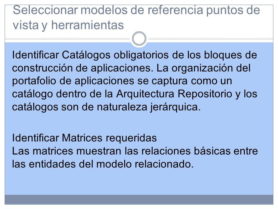 Seleccionar modelos de referencia puntos de vista y herramientas Identificar Catálogos obligatorios de los bloques de construcción de aplicaciones.