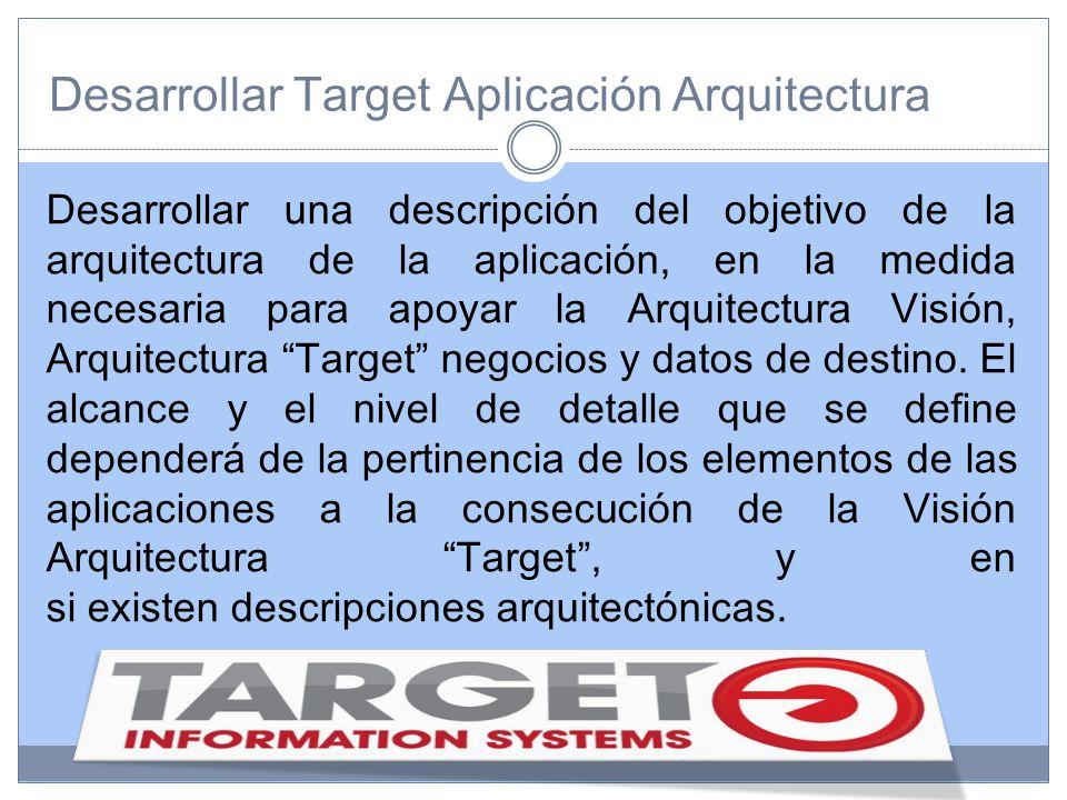 Desarrollar Target Aplicación Arquitectura Desarrollar una descripción del objetivo de la arquitectura de la aplicación, en la medida necesaria para apoyar la Arquitectura Visión, Arquitectura Target negocios y datos de destino.