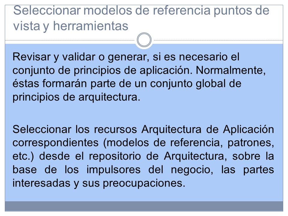 Seleccionar modelos de referencia puntos de vista y herramientas Revisar y validar o generar, si es necesario el conjunto de principios de aplicación.