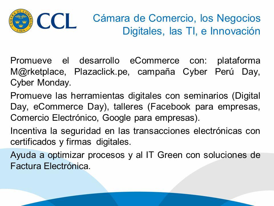 Promueve el desarrollo eCommerce con: plataforma M@rketplace, Plazaclick.pe, campaña Cyber Perú Day, Cyber Monday. Promueve las herramientas digitales
