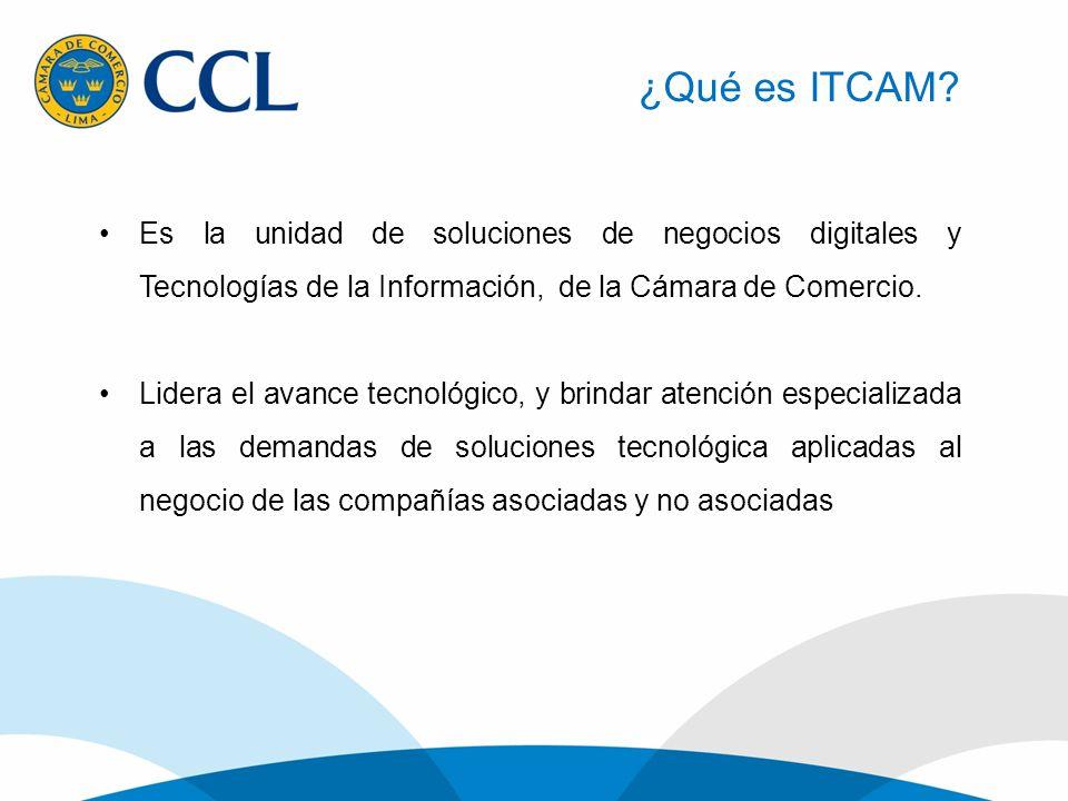 ¿Qué es ITCAM? Es la unidad de soluciones de negocios digitales y Tecnologías de la Información, de la Cámara de Comercio. Lidera el avance tecnológic