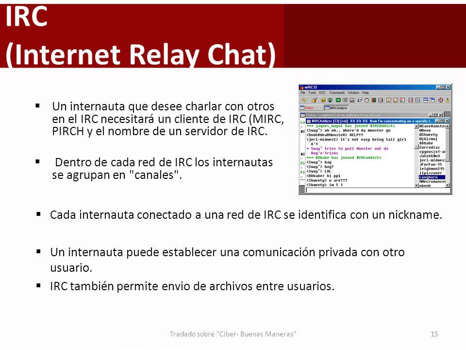 IRC (Internet Relay Chat) Cada internauta conectado a una red de IRC se identifica con un nickname. Un internauta puede establecer una comunicación pr