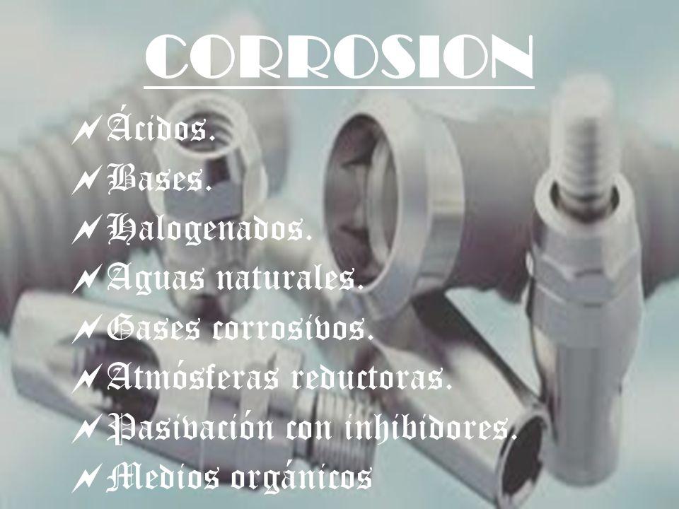 CORROSION Ácidos. Bases. Halogenados. Aguas naturales. Gases corrosivos. Atmósferas reductoras. Pasivación con inhibidores. Medios orgánicos