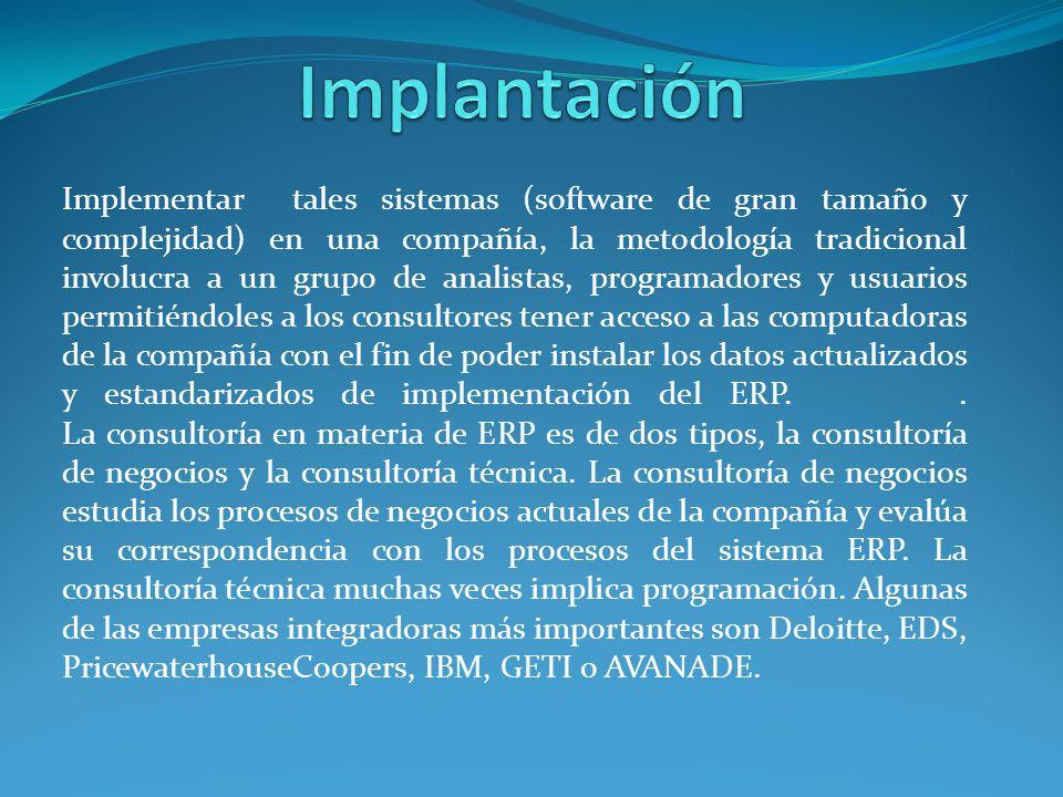 Implementar tales sistemas (software de gran tamaño y complejidad) en una compañía, la metodología tradicional involucra a un grupo de analistas, prog