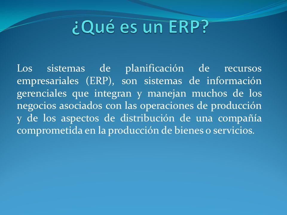 Los sistemas de planificación de recursos empresariales (ERP), son sistemas de información gerenciales que integran y manejan muchos de los negocios a