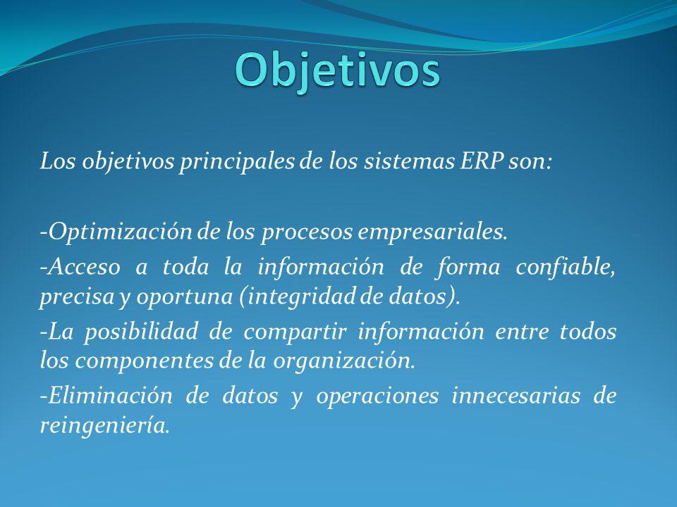 Los objetivos principales de los sistemas ERP son: -Optimización de los procesos empresariales. -Acceso a toda la información de forma confiable, prec