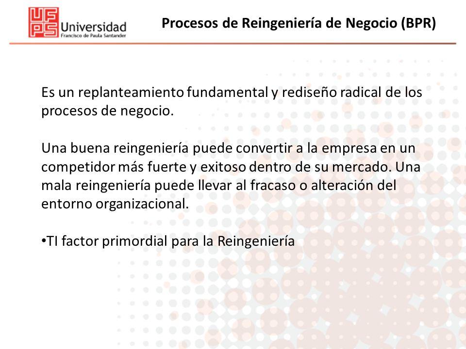 Procesos de Reingeniería de Negocio (BPR) Es un replanteamiento fundamental y rediseño radical de los procesos de negocio. Una buena reingeniería pued