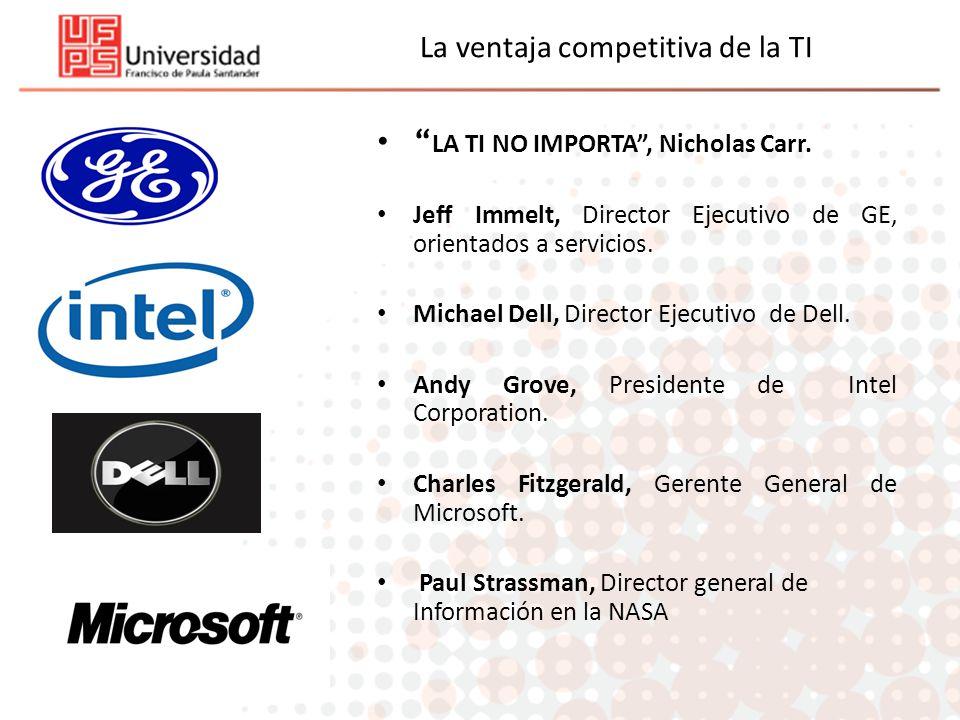 La ventaja competitiva de la TI LA TI NO IMPORTA, Nicholas Carr. Jeff Immelt, Director Ejecutivo de GE, orientados a servicios. Michael Dell, Director