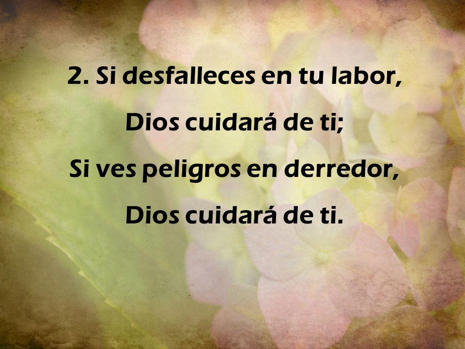 2. Si desfalleces en tu labor, Dios cuidará de ti; Si ves peligros en derredor, Dios cuidará de ti.