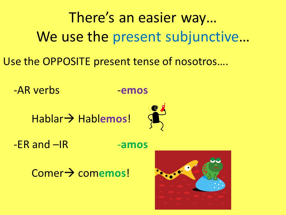 Now lets ask peeps to do something… Lets ask our peeps: – ¿Te gustaría (verb/activity).