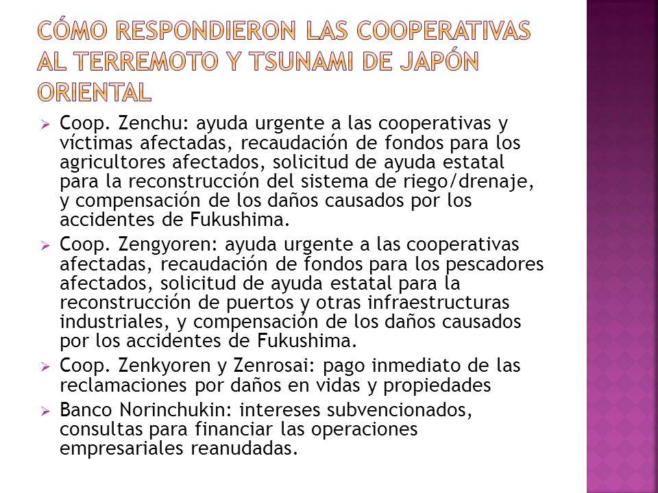 Coop. Zenchu: ayuda urgente a las cooperativas y víctimas afectadas, recaudación de fondos para los agricultores afectados, solicitud de ayuda estatal