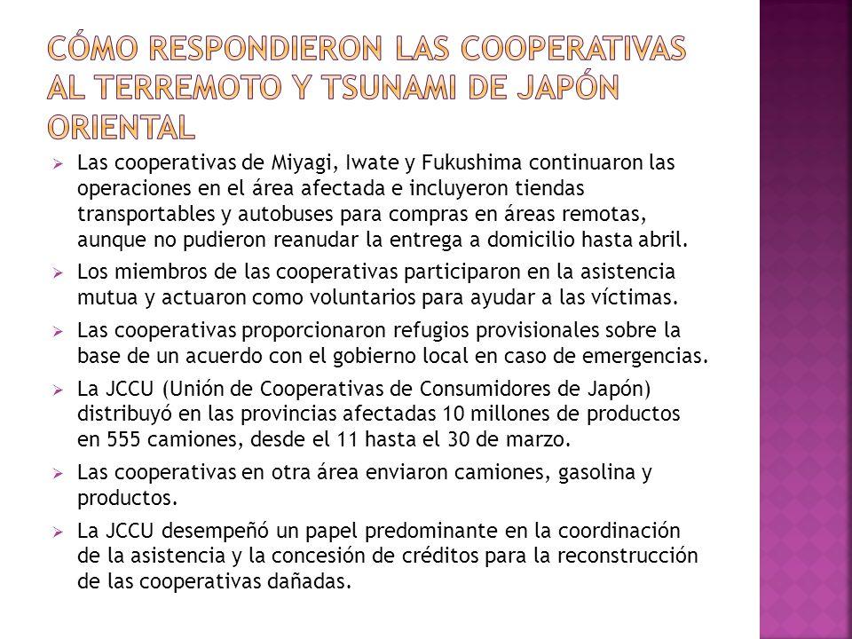 Las cooperativas de Miyagi, Iwate y Fukushima continuaron las operaciones en el área afectada e incluyeron tiendas transportables y autobuses para com