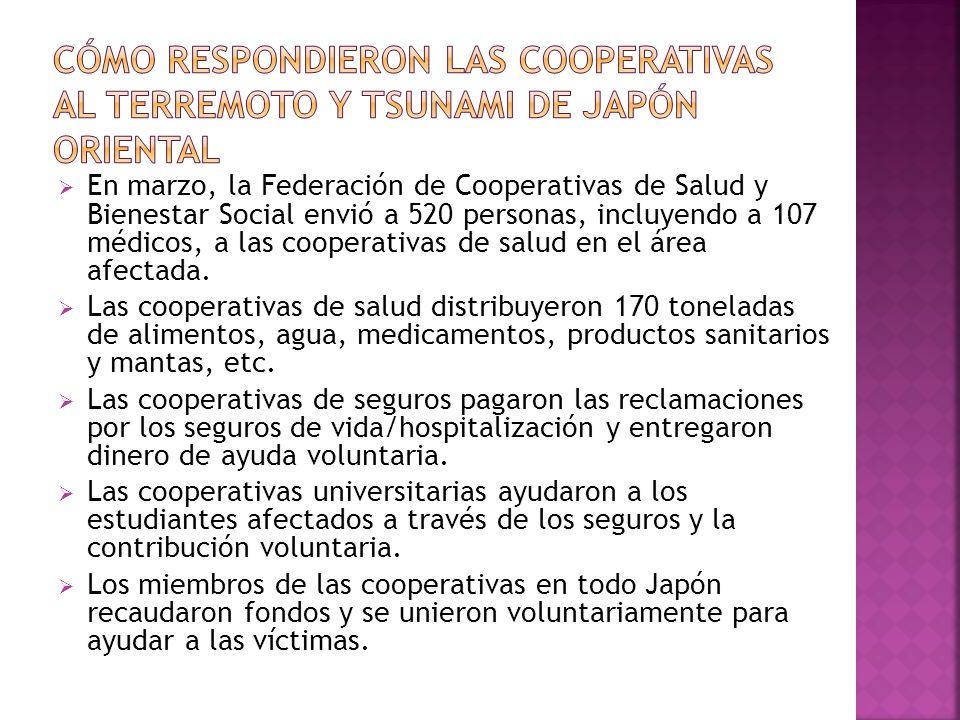 En marzo, la Federación de Cooperativas de Salud y Bienestar Social envió a 520 personas, incluyendo a 107 médicos, a las cooperativas de salud en el área afectada.