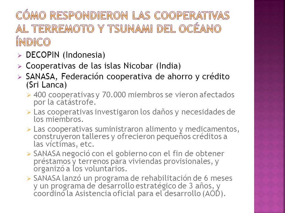 DECOPIN (Indonesia) Cooperativas de las islas Nicobar (India) SANASA, Federación cooperativa de ahorro y crédito (Sri Lanca) 400 cooperativas y 70.000 miembros se vieron afectados por la catástrofe.