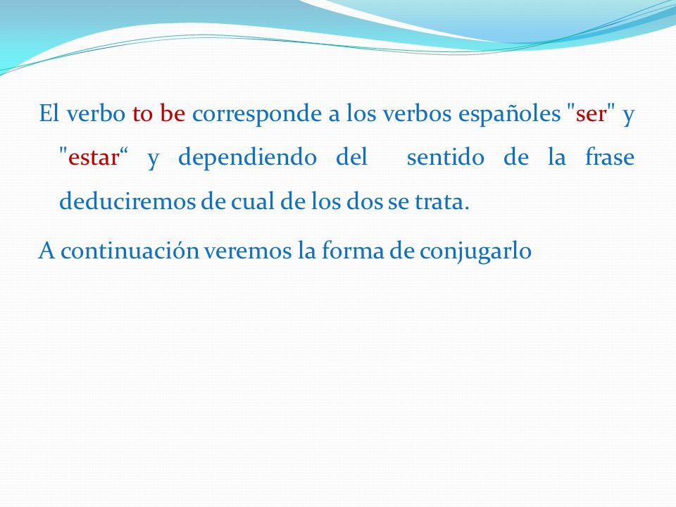 El verbo to be corresponde a los verbos españoles ser y estar y dependiendo del sentido de la frase deduciremos de cual de los dos se trata.