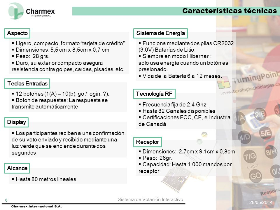 CARACTERÍSTICAS TÉCNICAS Sistema de Votación Interactivo TURNING POINT 28/05/2014 Sistema de Votación Interactivo 7