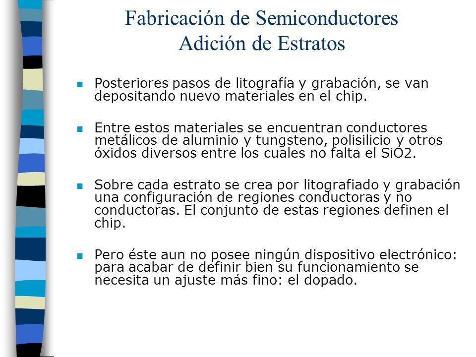 Fabricación de Semiconductores Adición de Estratos n Posteriores pasos de litografía y grabación, se van depositando nuevo materiales en el chip. n En