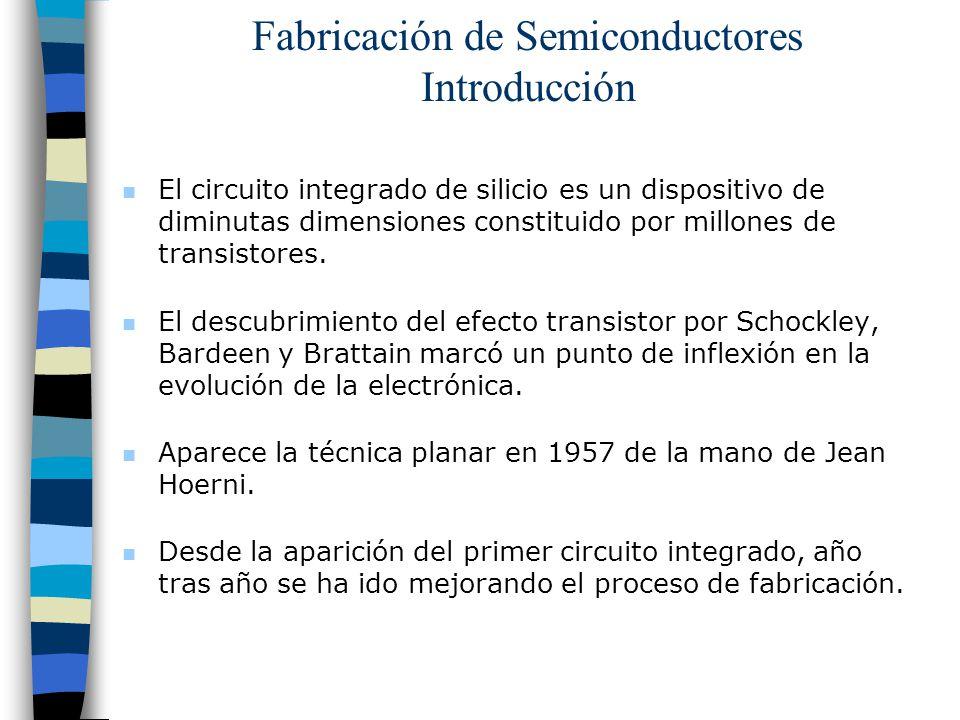 Fabricación de Semiconductores Introducción n El circuito integrado de silicio es un dispositivo de diminutas dimensiones constituido por millones de transistores.