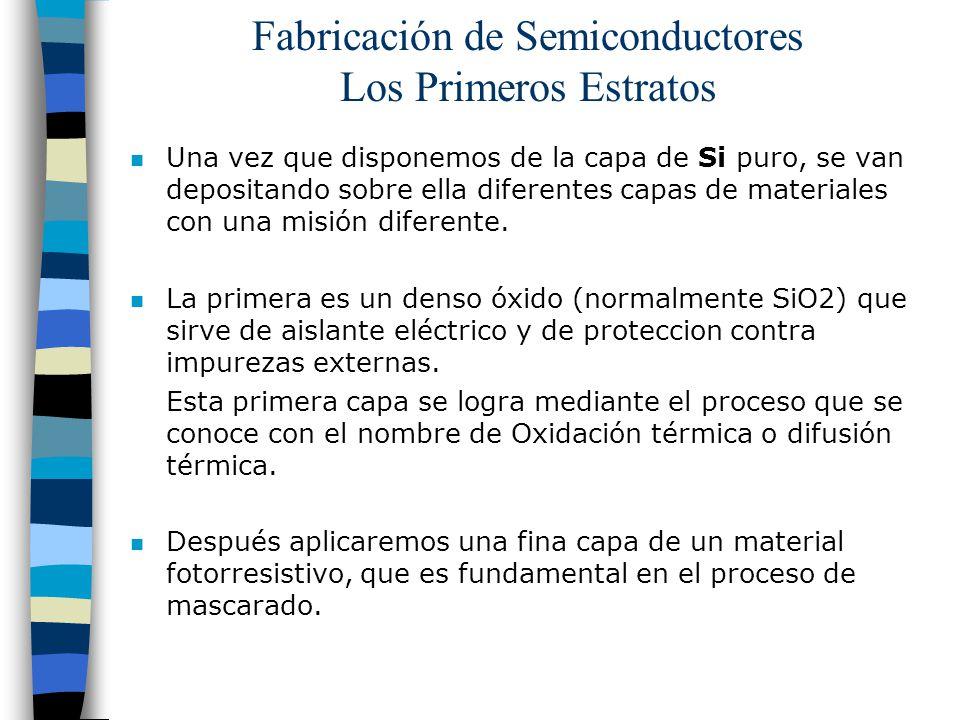 Fabricación de Semiconductores Los Primeros Estratos n Una vez que disponemos de la capa de Si puro, se van depositando sobre ella diferentes capas de materiales con una misión diferente.