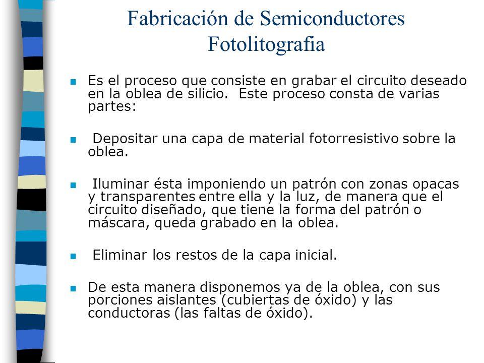 Fabricación de Semiconductores Fotolitografia n Es el proceso que consiste en grabar el circuito deseado en la oblea de silicio. Este proceso consta d