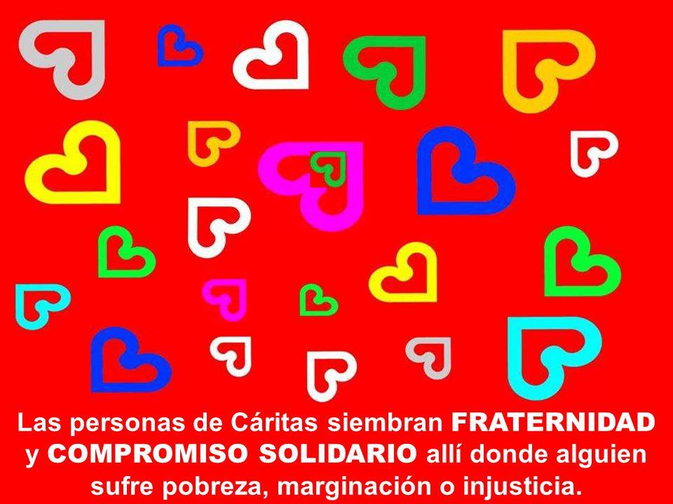 Las personas de Cáritas siembran FRATERNIDAD y COMPROMISO SOLIDARIO allí donde alguien sufre pobreza, marginación o injusticia.