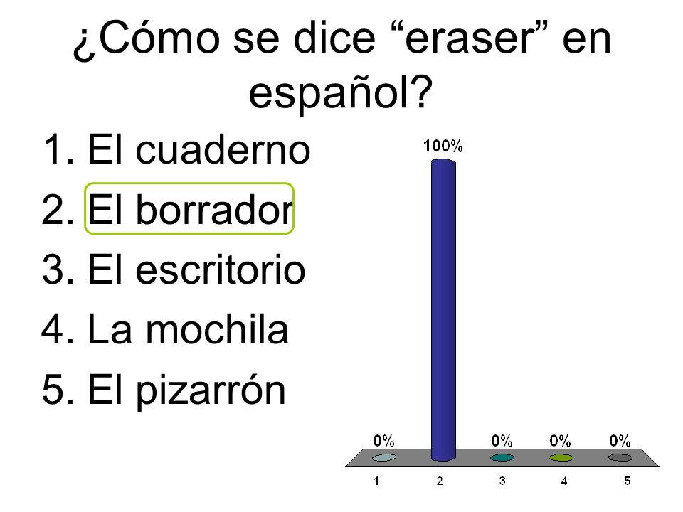 ¿Cómo se dice eraser en español? 1.El cuaderno 2.El borrador 3.El escritorio 4.La mochila 5.El pizarrón
