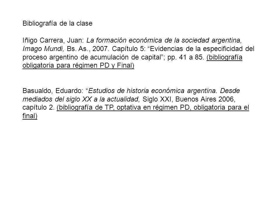 Bibliografía de la clase Iñigo Carrera, Juan: La formación económica de la sociedad argentina, Imago Mundi, Bs.