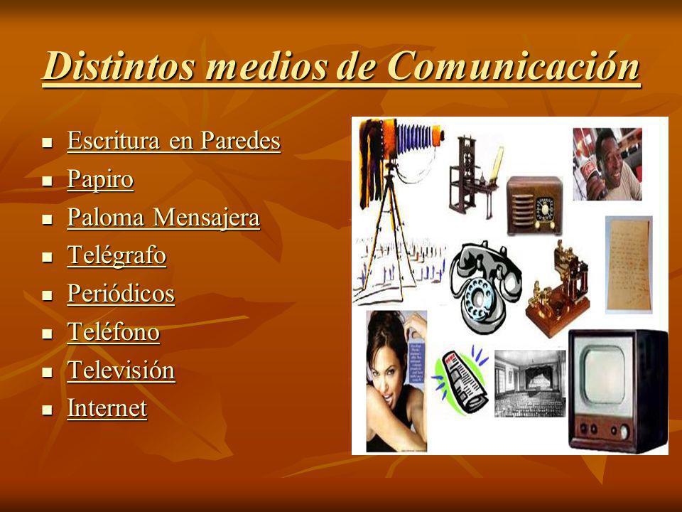 Distintos medios de Comunicación Escritura en Paredes Escritura en Paredes Escritura en Paredes Escritura en Paredes Papiro Papiro Papiro Paloma Mensa