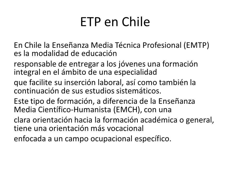 ETP en Chile En Chile la Enseñanza Media Técnica Profesional (EMTP) es la modalidad de educación responsable de entregar a los jóvenes una formación integral en el ámbito de una especialidad que facilite su inserción laboral, así como también la continuación de sus estudios sistemáticos.