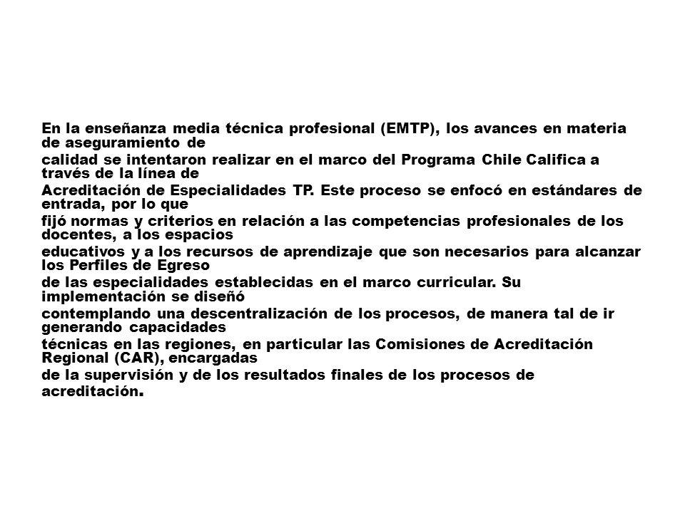 En la enseñanza media técnica profesional (EMTP), los avances en materia de aseguramiento de calidad se intentaron realizar en el marco del Programa Chile Califica a través de la línea de Acreditación de Especialidades TP.