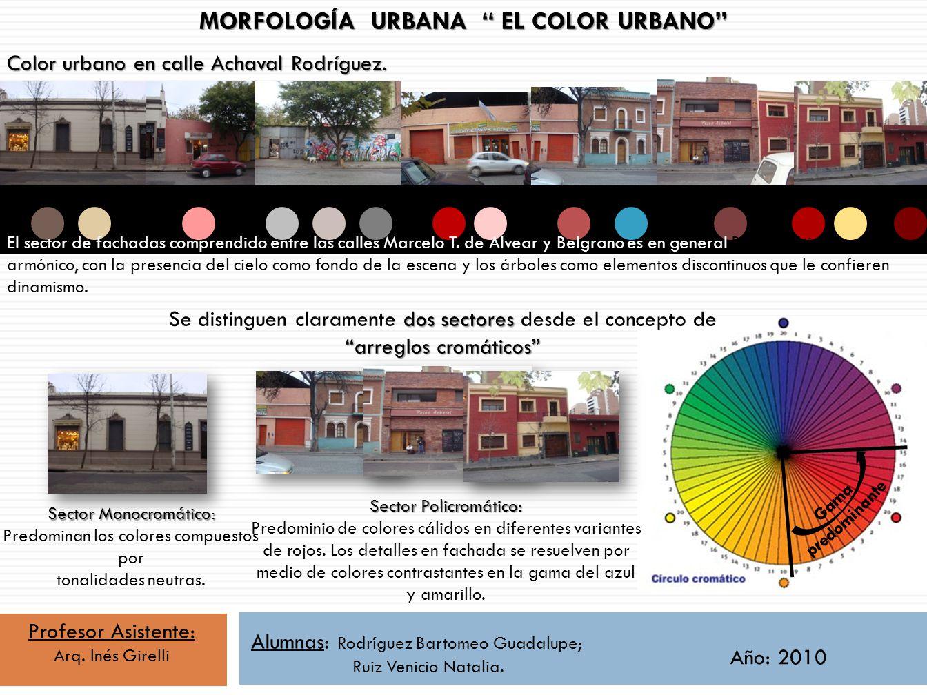 MORFOLOGÍA URBANA EL COLOR URBANO Color urbano en calle Achaval Rodríguez. El sector de fachadas comprendido entre las calles Marcelo T. de Alvear y B