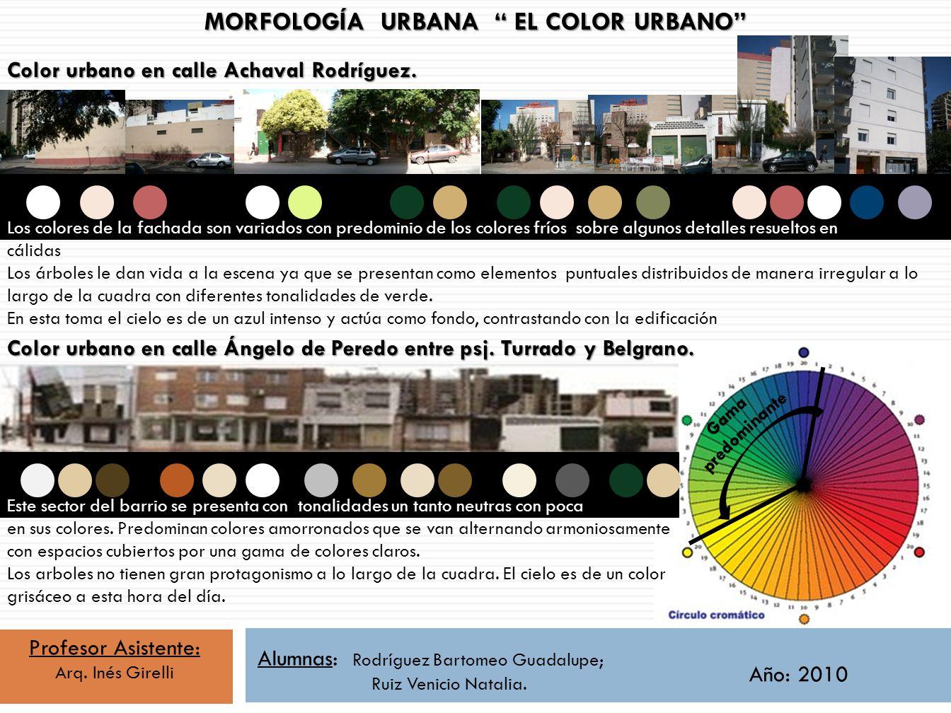 Profesor Asistente: Arq. Inés Girelli Alumnas: Rodríguez Bartomeo Guadalupe; Ruiz Venicio Natalia. Año: 2010 MORFOLOGÍA URBANA EL COLOR URBANO Color u