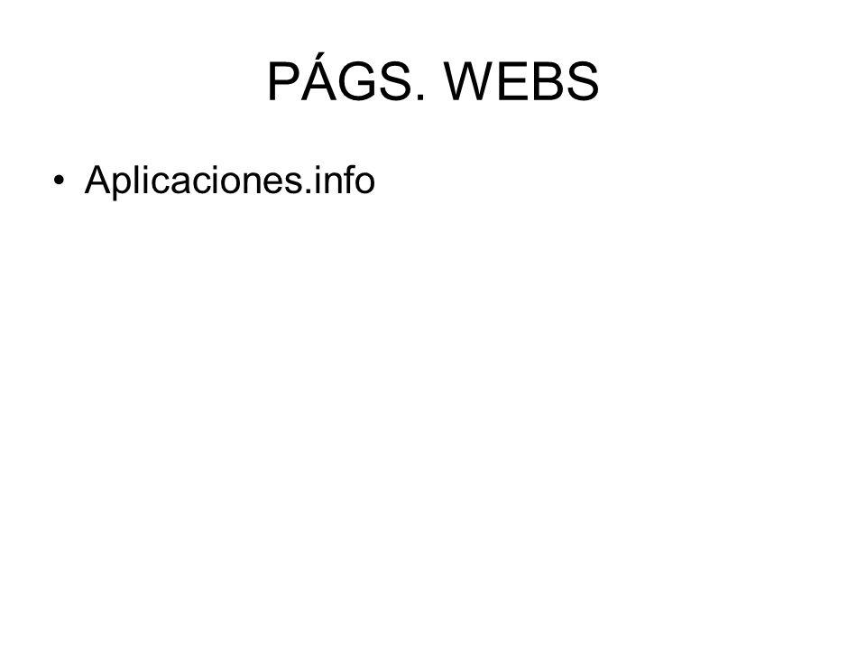 PÁGS. WEBS Aplicaciones.info