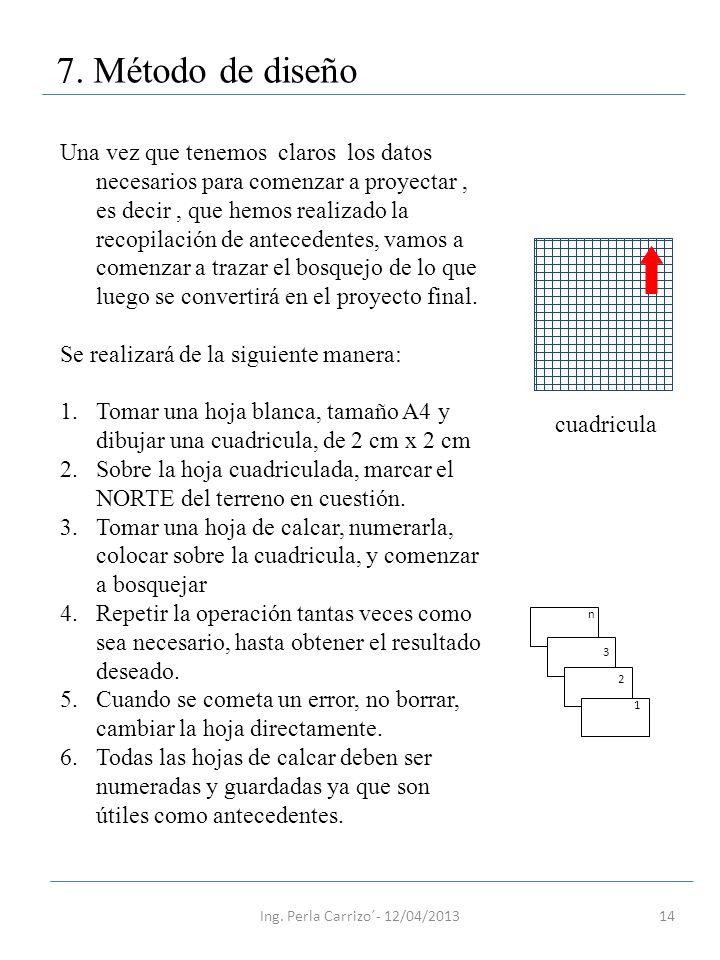 14 7. Método de diseño Una vez que tenemos claros los datos necesarios para comenzar a proyectar, es decir, que hemos realizado la recopilación de ant