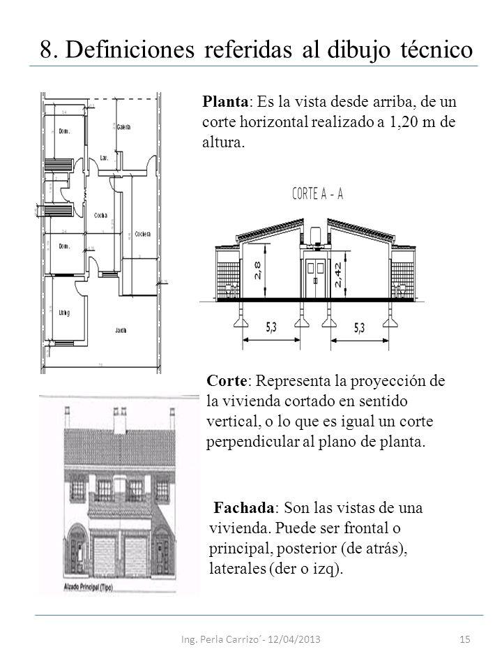 15 8. Definiciones referidas al dibujo técnico Planta: Es la vista desde arriba, de un corte horizontal realizado a 1,20 m de altura. Corte: Represent