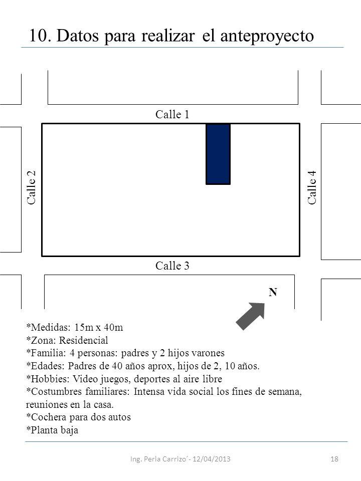 18 10. Datos para realizar el anteproyecto N Calle 1 Calle 3 Calle 2Calle 4 *Medidas: 15m x 40m *Zona: Residencial *Familia: 4 personas: padres y 2 hi