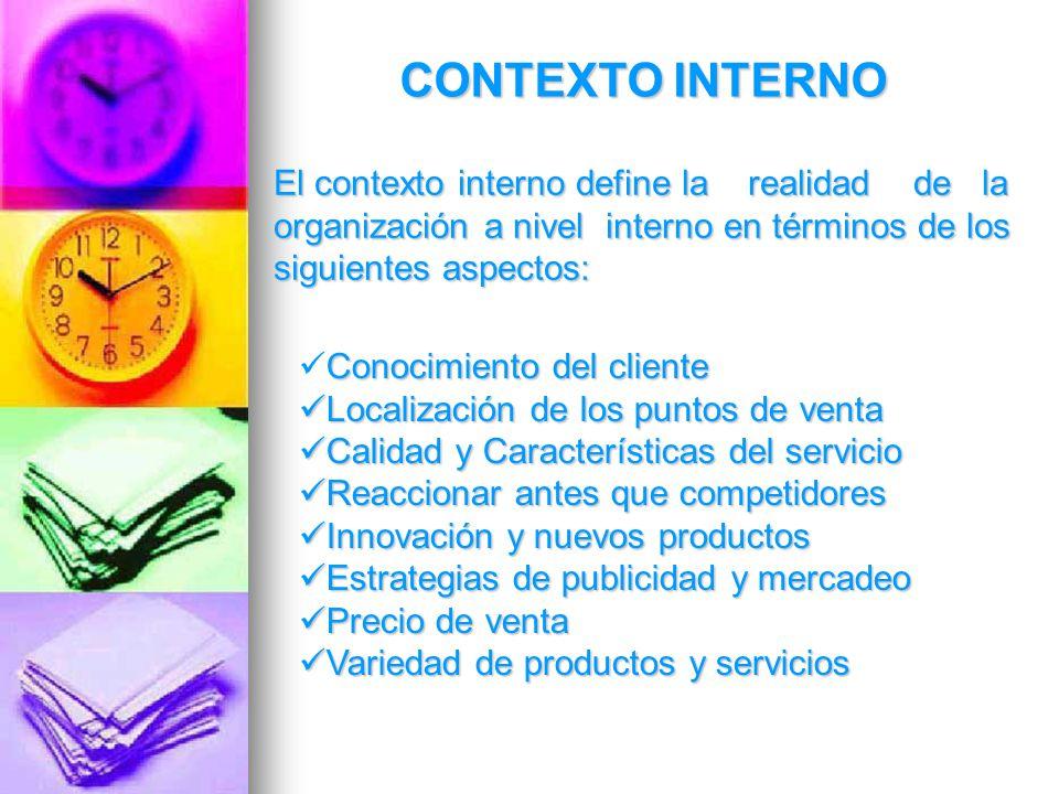 CONTEXTO INTERNO El contexto interno define la realidad de la organización a nivel interno en términos de los siguientes aspectos: Conocimiento del cl