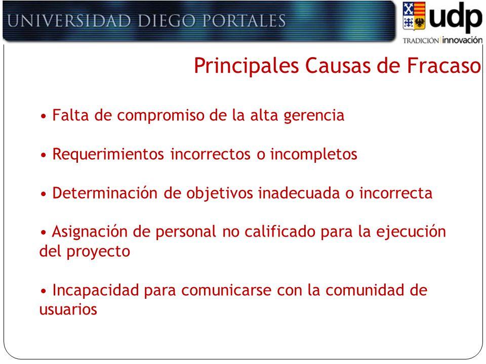 Principales Causas de Fracaso Falta de compromiso de la alta gerencia Requerimientos incorrectos o incompletos Determinación de objetivos inadecuada o