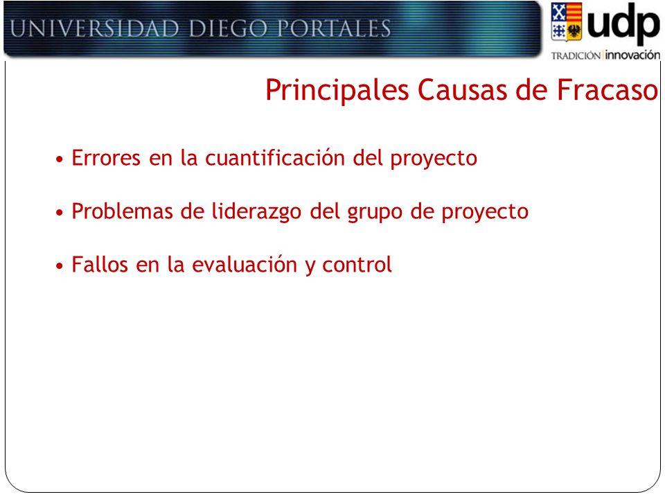 Principales Causas de Fracaso Errores en la cuantificación del proyecto Problemas de liderazgo del grupo de proyecto Fallos en la evaluación y control