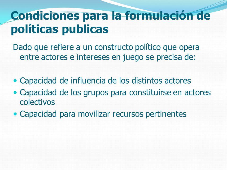 Condiciones para la formulación de políticas publicas Dado que refiere a un constructo político que opera entre actores e intereses en juego se precisa de: Capacidad de influencia de los distintos actores Capacidad de los grupos para constituirse en actores colectivos Capacidad para movilizar recursos pertinentes