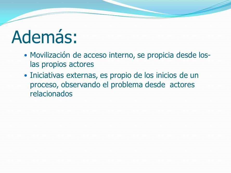 Además: Movilización de acceso interno, se propicia desde los- las propios actores Iniciativas externas, es propio de los inicios de un proceso, observando el problema desde actores relacionados