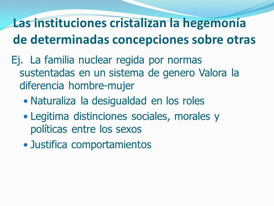 Las instituciones cristalizan la hegemonía de determinadas concepciones sobre otras Ej.