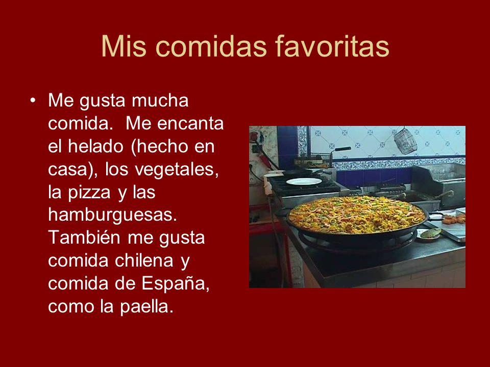 Mis comidas favoritas Me gusta mucha comida. Me encanta el helado (hecho en casa), los vegetales, la pizza y las hamburguesas. También me gusta comida