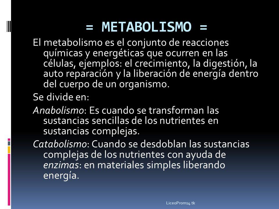 = METABOLISMO = El metabolismo es el conjunto de reacciones químicas y energéticas que ocurren en las células, ejemplos: el crecimiento, la digestión,