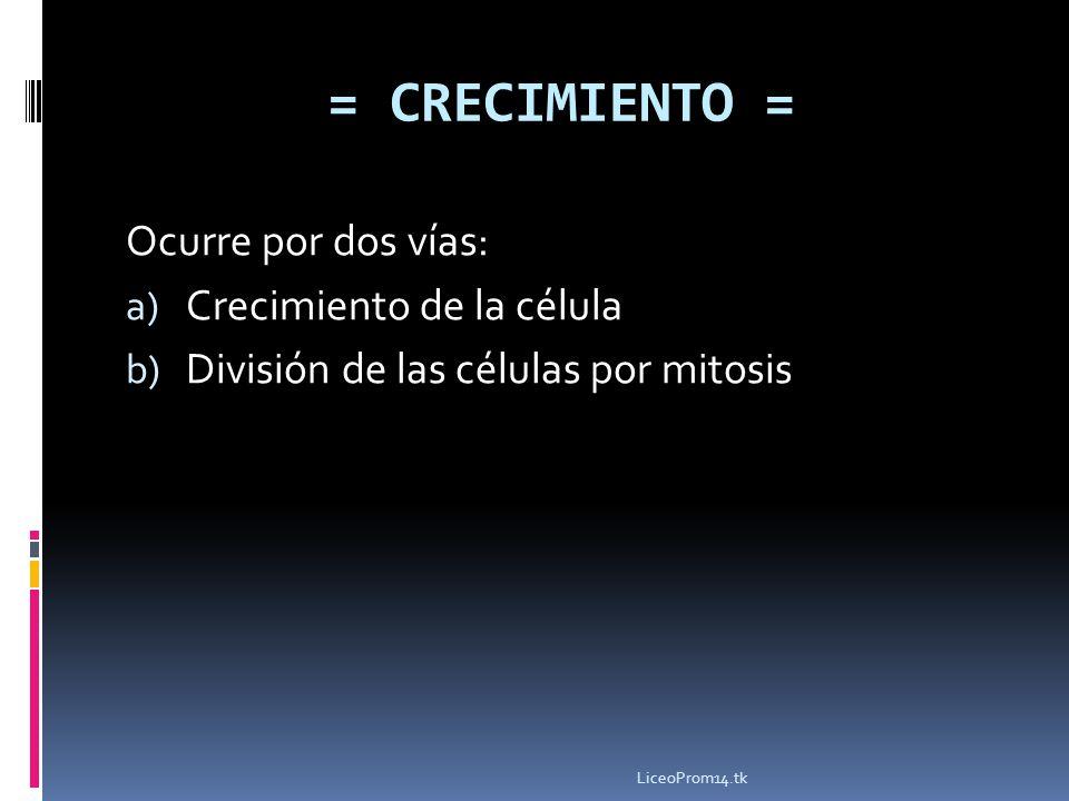 Ocurre por dos vías: a) Crecimiento de la célula b) División de las células por mitosis = CRECIMIENTO = LiceoProm14.tk